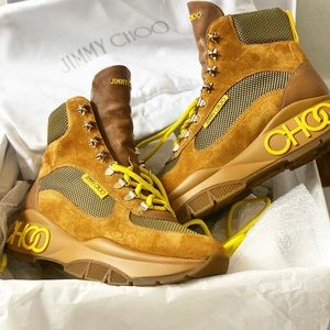 JIMMY CHOO: Camel Neon Lace Chunky Sneaker Boots